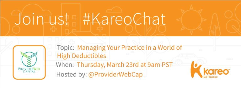 Welcome to #KareoChat w @ProviderWebCap! We'll talk managing a practice in a world of #HighDeductibles. Who's ready to share their thoughts? https://t.co/Y7nwNzrD4X