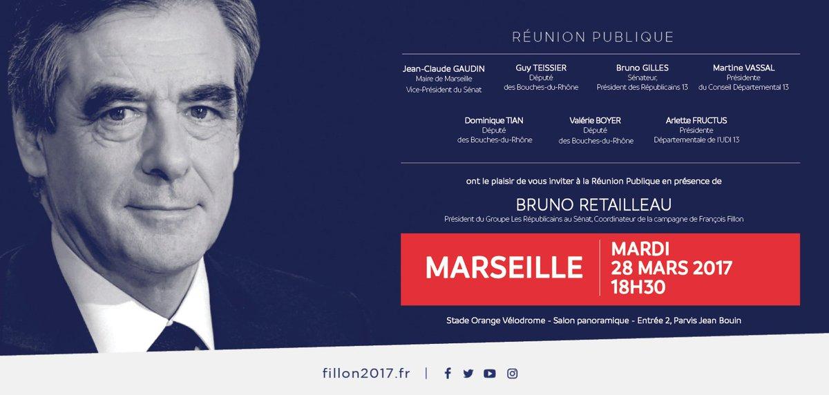 🔵⚪�🔴 RAPPEL : Réunion de soutien à @FrancoisFillon ce mardi avec @BrunoRetailleau à #Marseille
