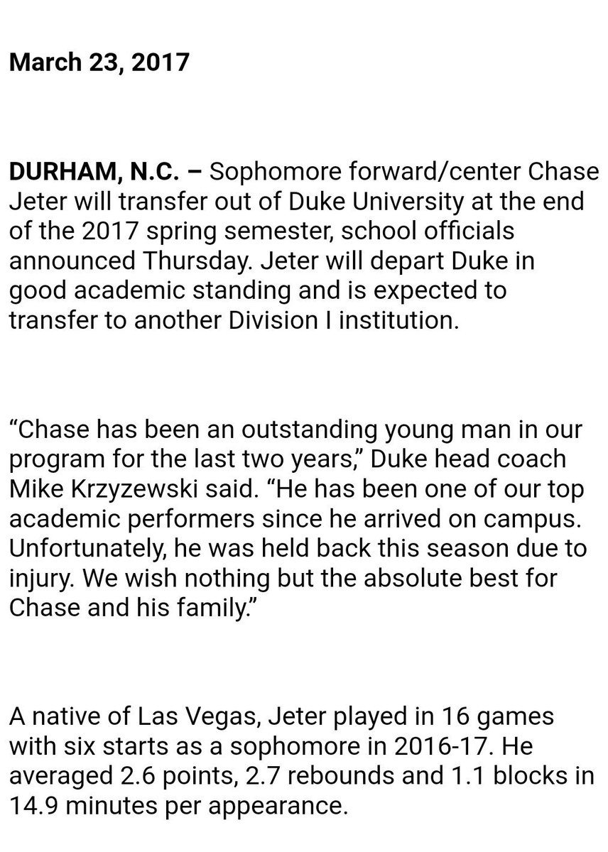 Sophomore Chase Jeter is transferring from #Duke. https://t.co/d48IYAH...