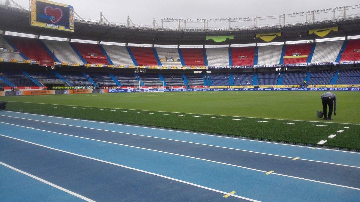Así luce la cancha del Metropolitano a horas de Colombia vs Bolivia. #...