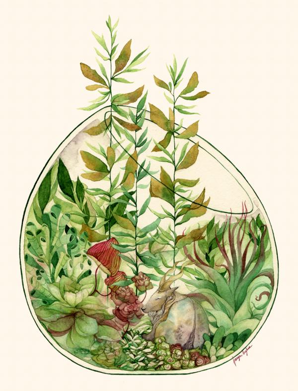 Soft watercolors grow a beautiful and unusual terrarium in this imagin...