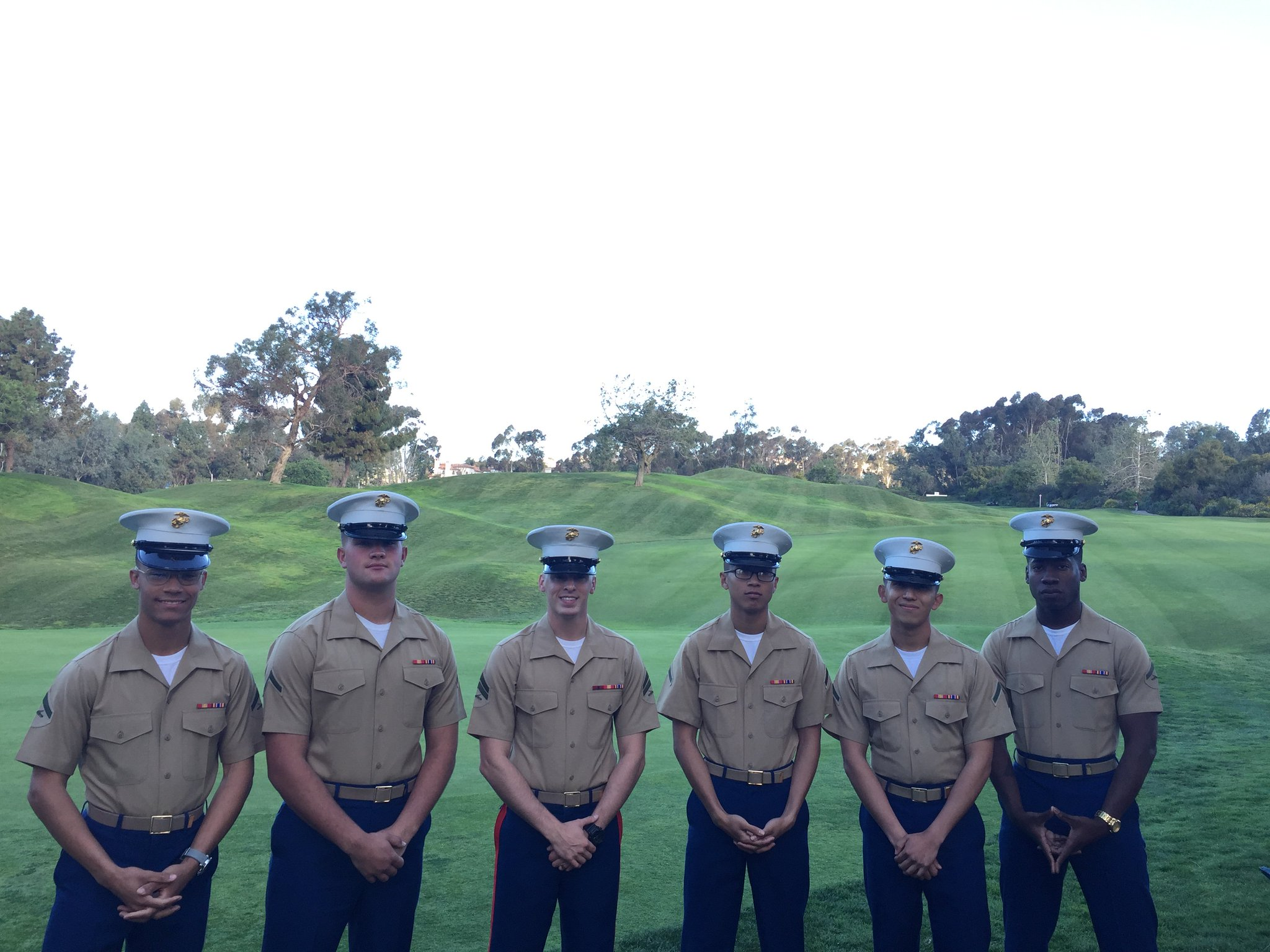 Salute our Military Heroes presented by Datron at the 9th hole. Today we have the smiling faces of the @USMC. Thank you for your service! https://t.co/6YUz79rPLH