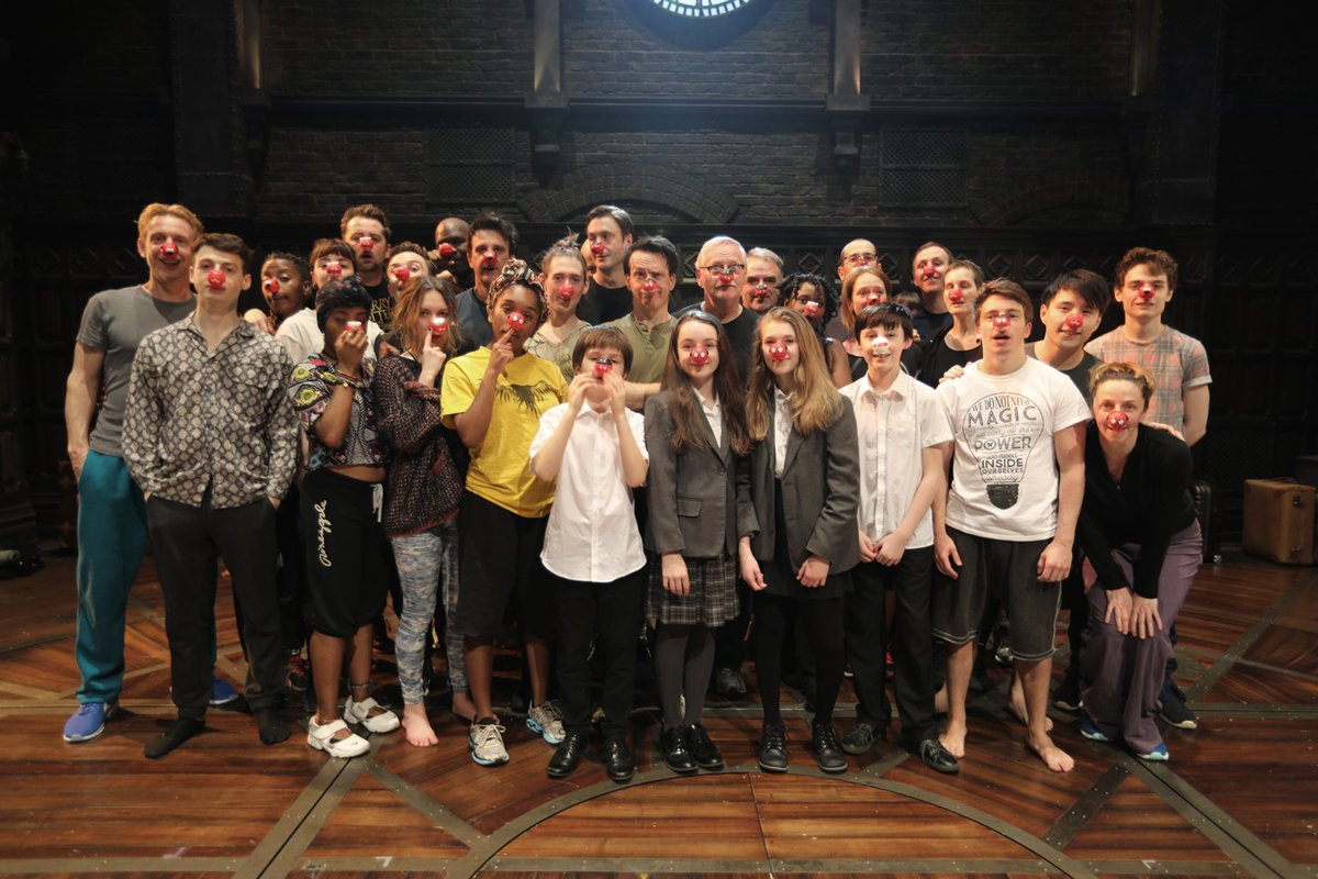The cast of #CursedChild get into the @rednoseday spirit! You can dona...