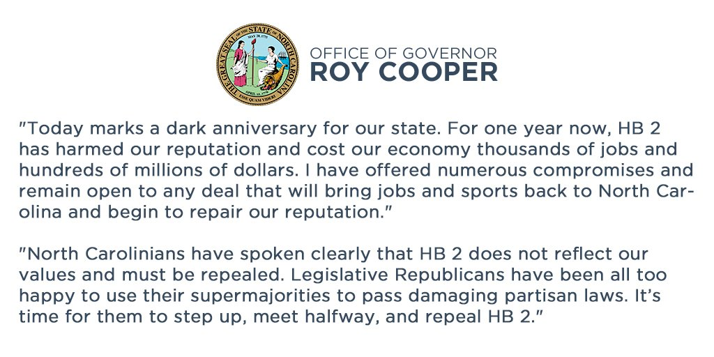 On the one-year anniversary of House Bill 2, Governor Roy Cooper issue...