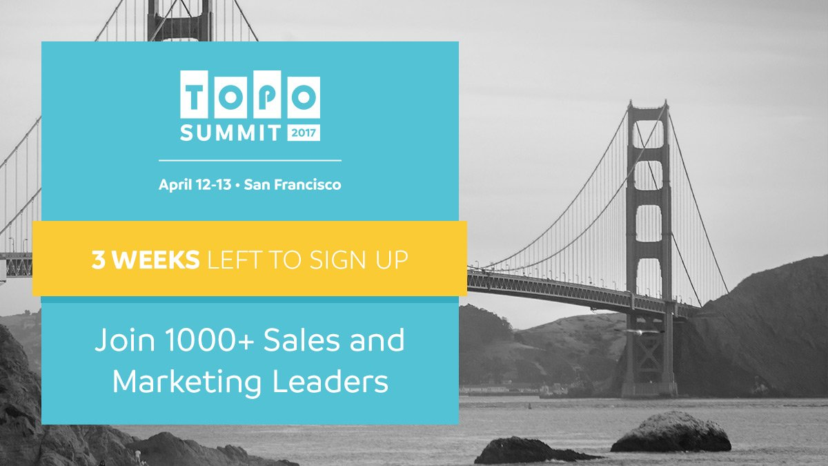 The #TOPOSummit is coming. Sales and Marketing descending on SF in 3 weeks. https://t.co/s9F2qiDeGp https://t.co/M49Mx844Td