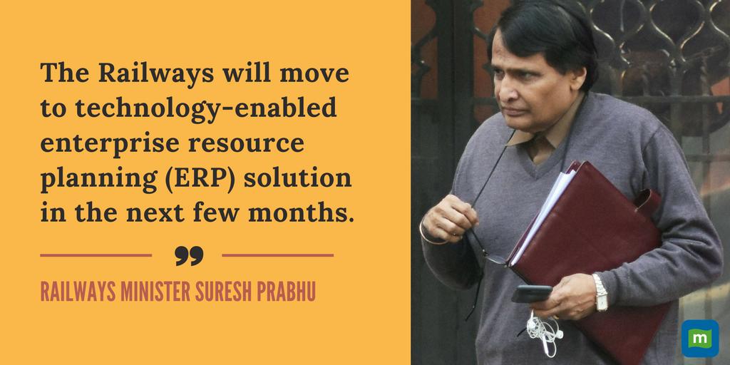 Railways to implement #ERP solution in next few months: @sureshpprabhu...