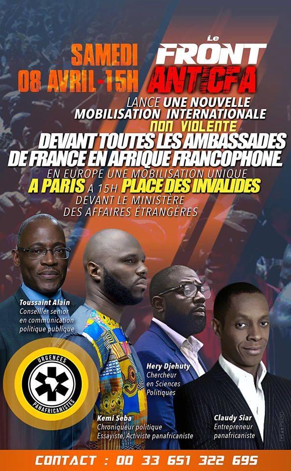 #FrontAntiCFA RDV samedi 8 avril : sit-in devant Ambassades #France ds les pays francophones #CFA et à #Paris devant MAE/Quai d&#39;Orsay, 15H. <br>http://pic.twitter.com/fc5VjogHTK