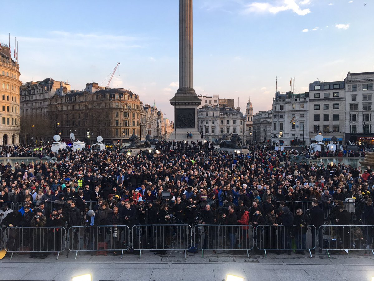 Trafalgar Square filling up to pay tribute to those who died yesterday...