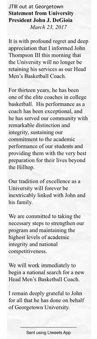 JTIII out at Georgetown              Statement #ltw https://t.co/glTKR...
