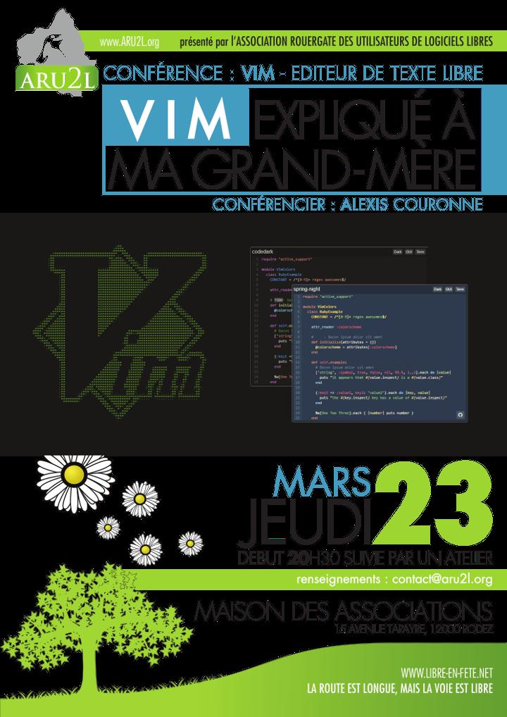 N&#39;oublions pas ce soir 20h30 la conf/atelier sur l&#39;éditeur de texte #Libre #VIM @AssoARU2L @skitoo #LibreEnFete +:  http:// aru2l.org/18-newsflash/5 48-jeudi-23-mars-2017-vim-explique-a-ma-grand-mere &nbsp; … <br>http://pic.twitter.com/2YbmyYudIb