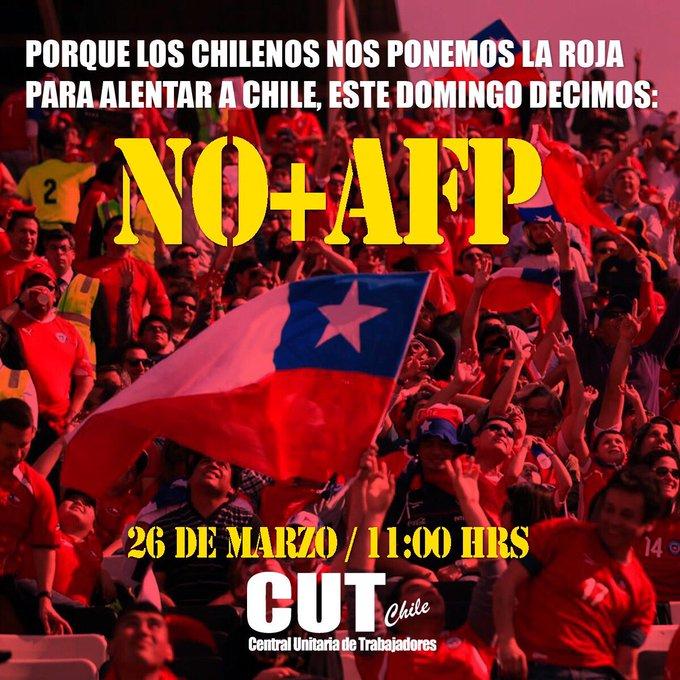"""Marcha """"No+AFP"""": Punto de encuentro gremios asociados a la CUT: Alameda esquina Vicuña Mackenna"""