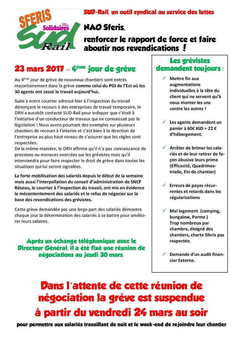 4ème jour de #greve au sein de l'entreprise #SFERIS Réunion de #négociations jeudi 30 mars Grève suspendue à partir du 24 #Mars2017 au soir<br>http://pic.twitter.com/rG3wFmoHo2