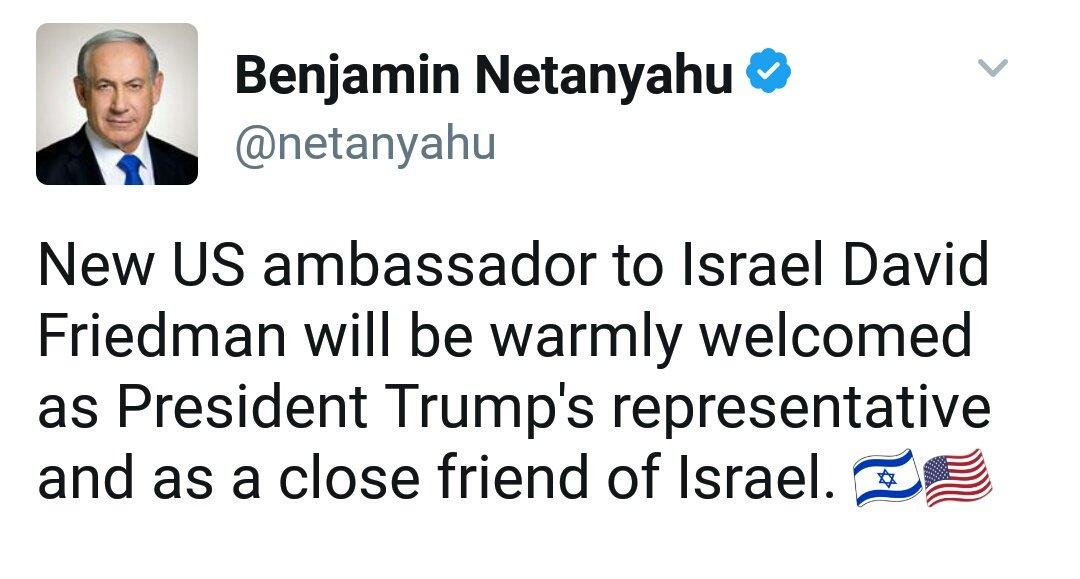 #Israel&quot;Tweet de @netanyahu: &quot;Le nouvel ambassadeur des Etats-Unis en Israël David Friedman sera chaleureusement accueilli comme #Trump...&quot; <br>http://pic.twitter.com/unanVhRt8X