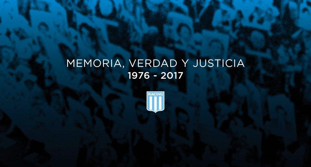 #NuncaMas #24demarzo Racing se suma al pedido de memoria, verdad y jus...