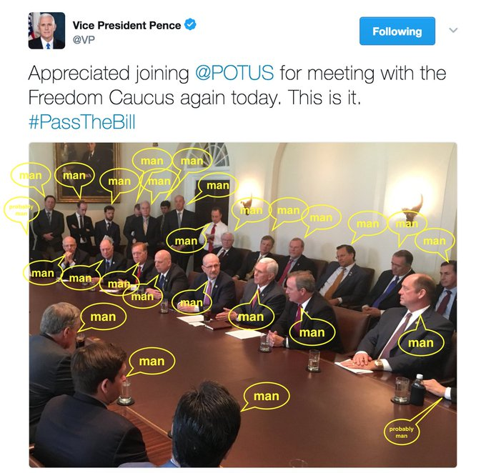Here's the picture of the leaders negotiating away birth control, maternity care & abortion. Notice anything?   (h#ProtectOurCare/t )@EmmyA2
