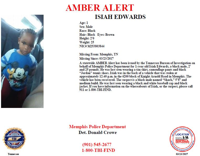 URGENT: AMBER Alert being issued out of Memphis. Help us find 1-year-o...