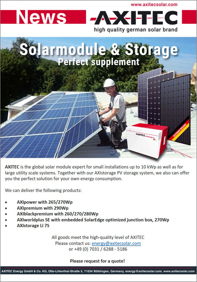 AXITEC #Solar #Modules #solarpanels and #PV Storage available in #europe<br>http://pic.twitter.com/dvSgXG9t4f