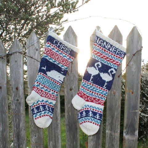 2 unusual knitted #Christmas stockings #MerryChristmas #Flamingos http...