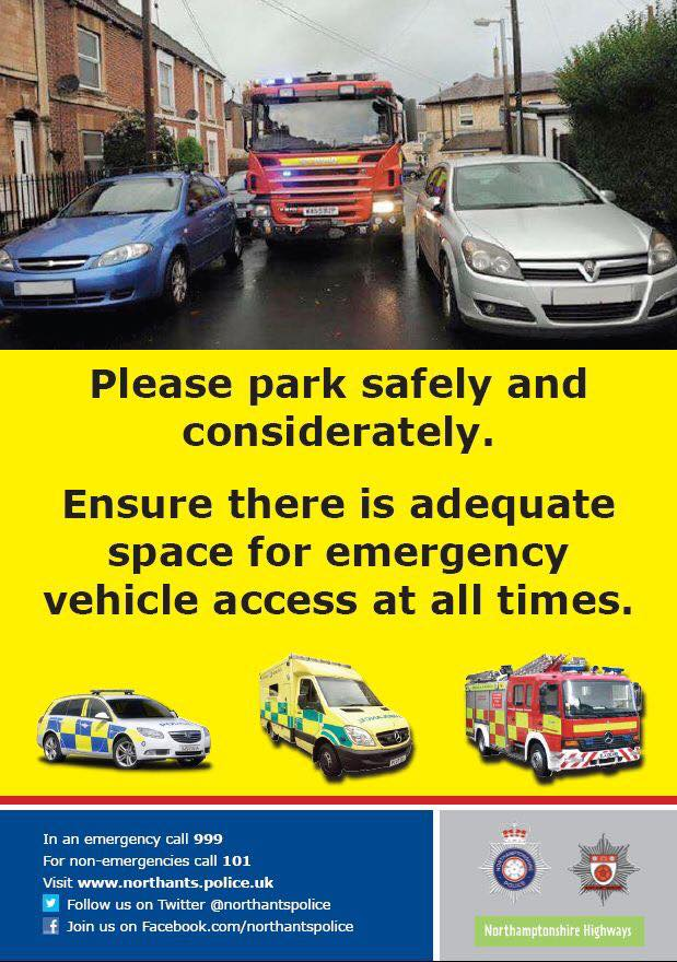 #Northantshour everyone can help #Team999 by parking considerately, pl...
