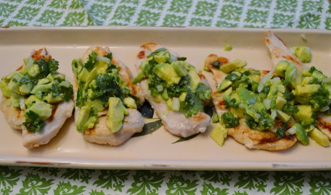 Chicken with Lime Cilantro Avocado Salsa