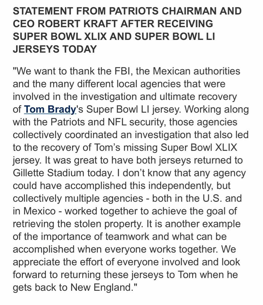 Robert Kraft statement on the return of the Brady jerseys #patriots #w...