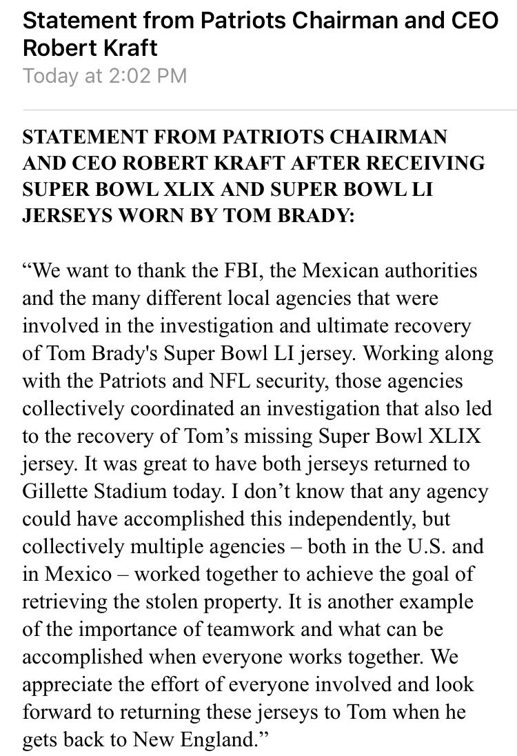Robert Kraft releases a statement regarding Brady's Super Bowl LI jers...