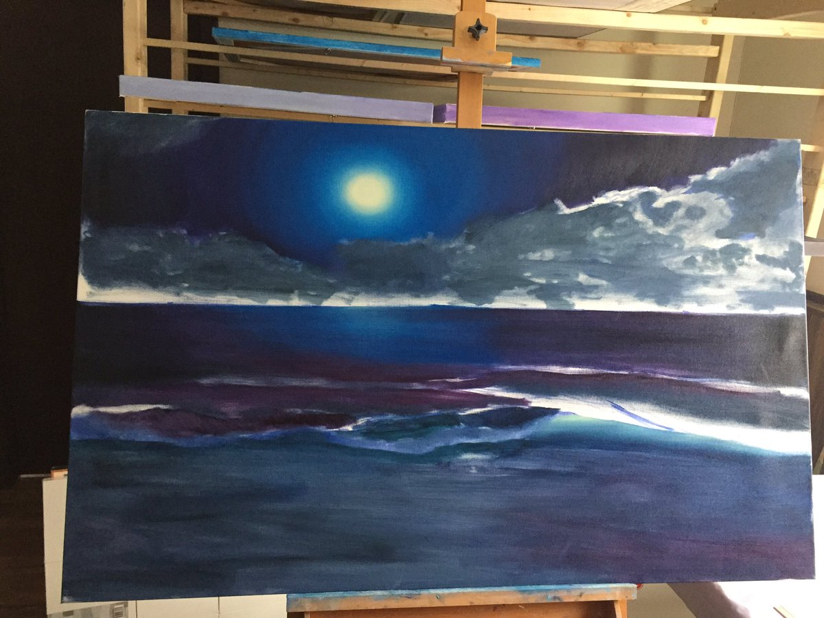 The beginning of a new nocturnal ocean #painting. #art #seascape https...