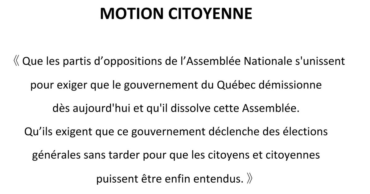 Motion citoyenne #ÇaSuffit #polqc #assnat @PartiQuebecois @QuebecSolidaire @CoalitionAvenir @MartineOuellet #PQ #CAQ #QS<br>http://pic.twitter.com/Tke6P3LwRw