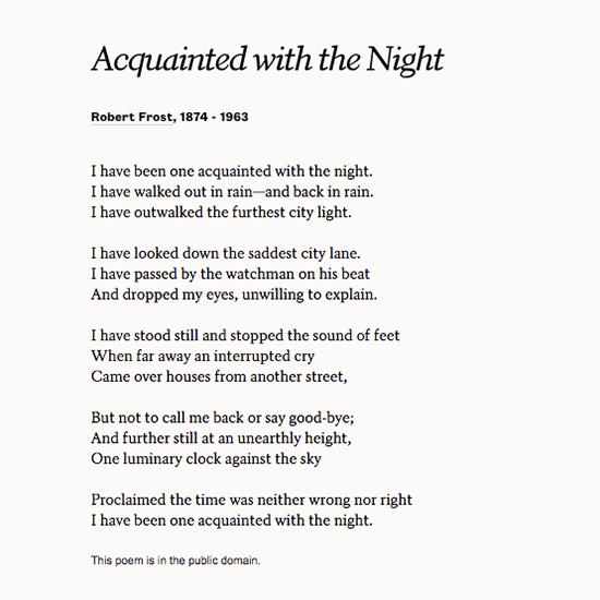 an analysis of the rhyme scheme symbolism and tone in robert frosts sonnet acquainted with the night What literary devices were used in acquainted with the more than its literal meaning in this poem, the night represents more and rhyme scheme.