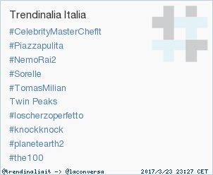 #planetearth2 è appena entrato in tendenza occupando la posizione 9 in Italy. Altre tendenze trendinalia.com/twitter-trendi…