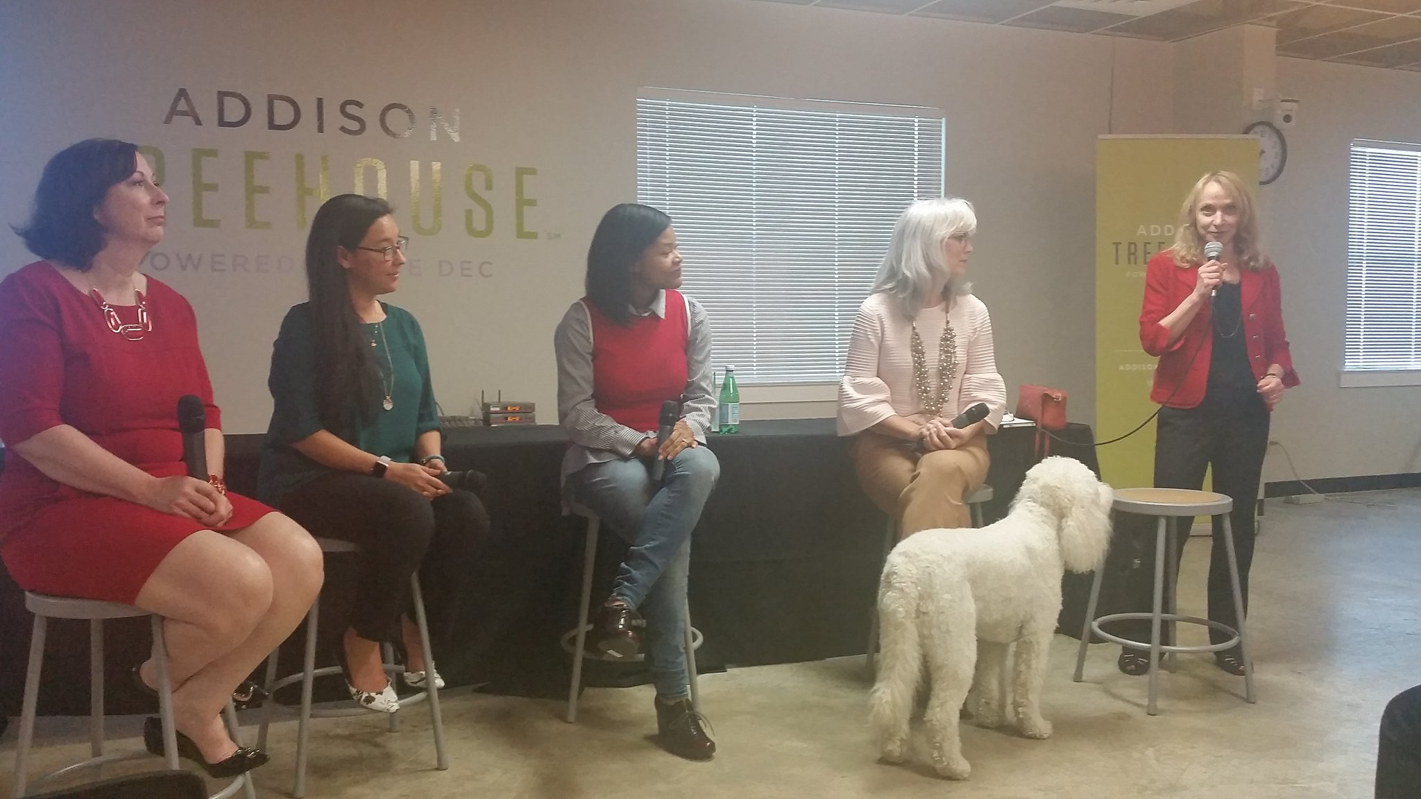 #WEAddison panel @TreeHouseTX with a golden doodle guest. https://t.co/rPGF7fsYyQ