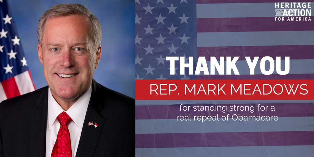 .@RepMarkMeadows is fighting for real repeal of Obamacare, RT to thank him.