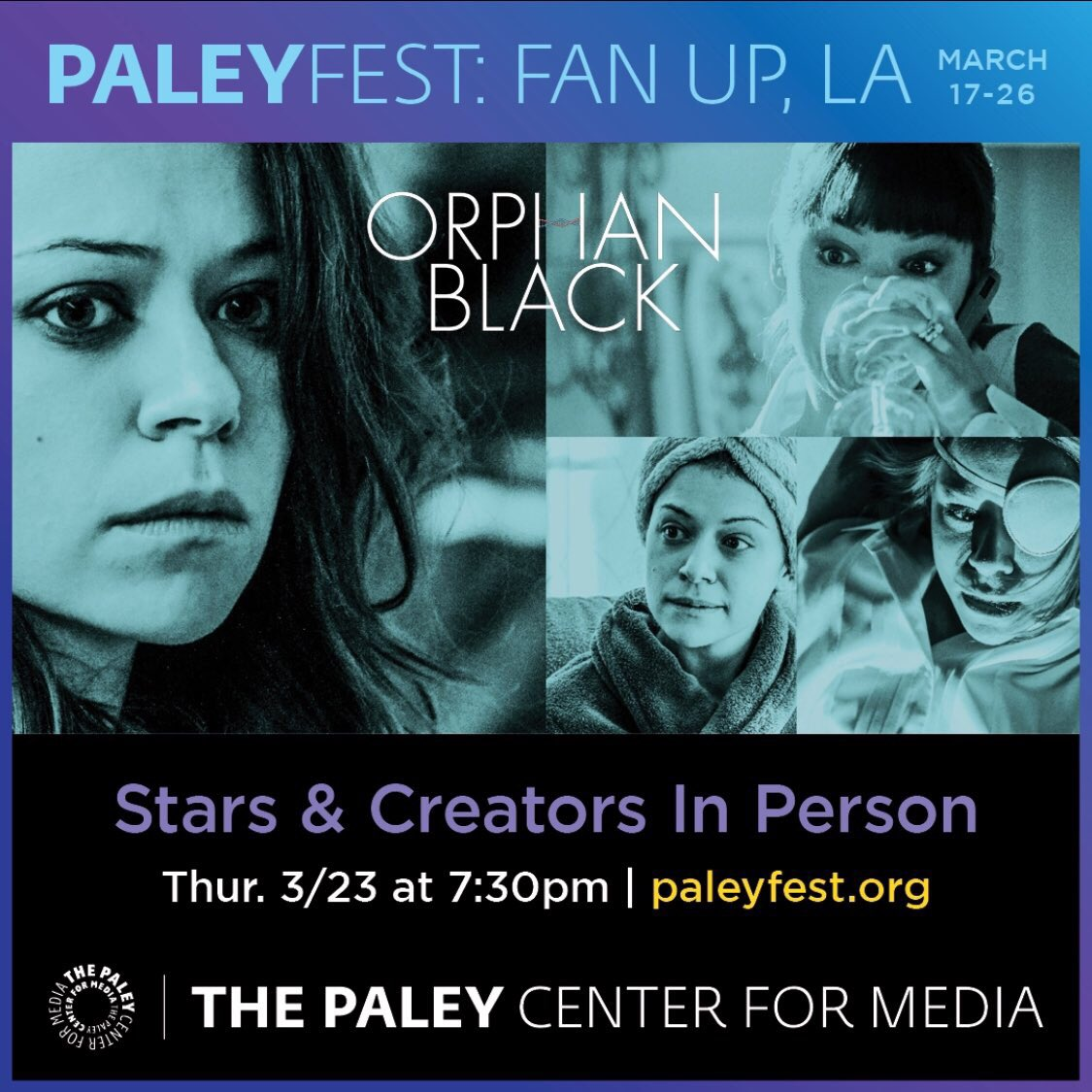 Good evening from #PaleyFest ! We're @DolbyTheatre awaiting the arrival of the @OrphanBlack cast & creatives. #sestras 👯👯👯👯 https://t.co/oEHP6kPd42