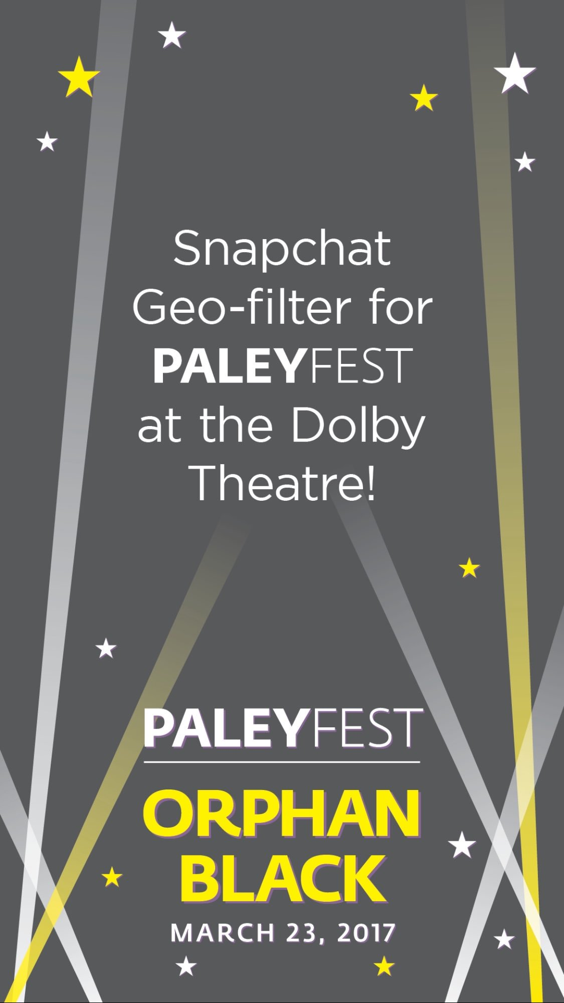 .@OrphanBlack fans at #PaleyFest: be sure to use our special geofilter when you're snapping tonight & follow @paleycenter on Snap!👻📺 https://t.co/VitrSPwz7A