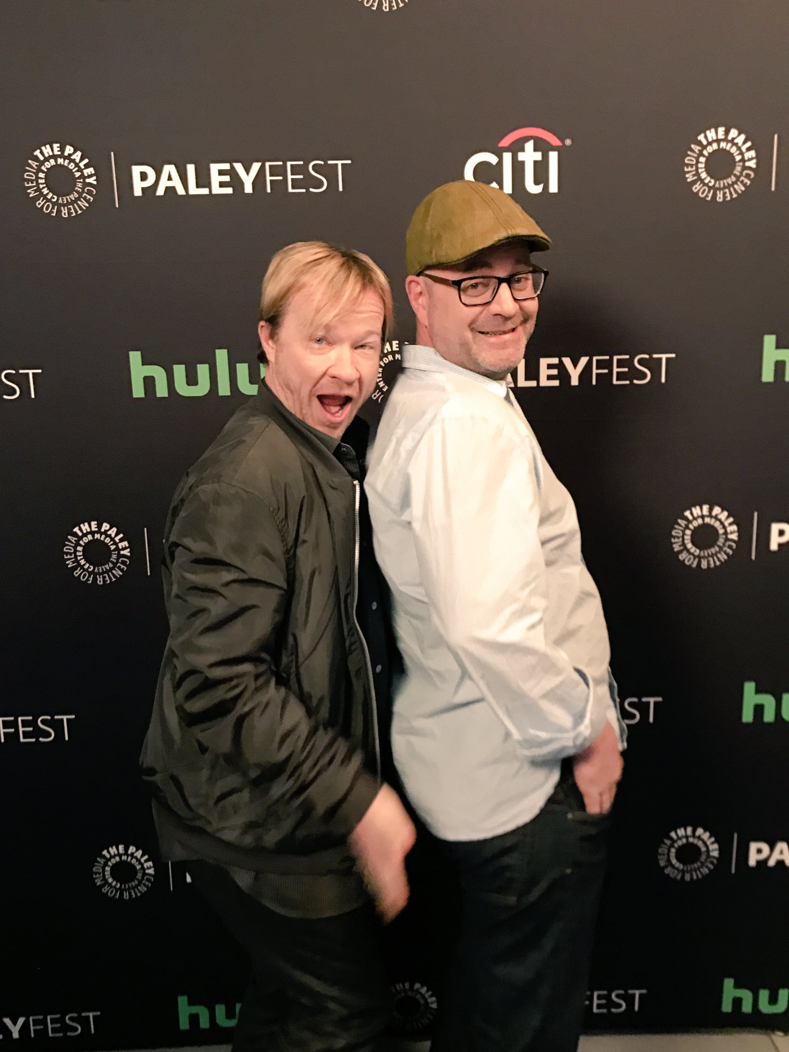 So the @OrphanBlack cast arrived en masse at #PaleyFest! Say hello to co-creators John Fawcett and Graeme Manson being cheeky! 📺👯👯😂 https://t.co/qBCuWHpvSJ