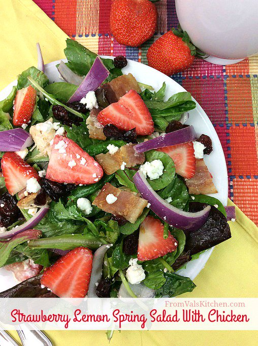 Strawberry Lemon Spring Salad With Chicken #Recipe