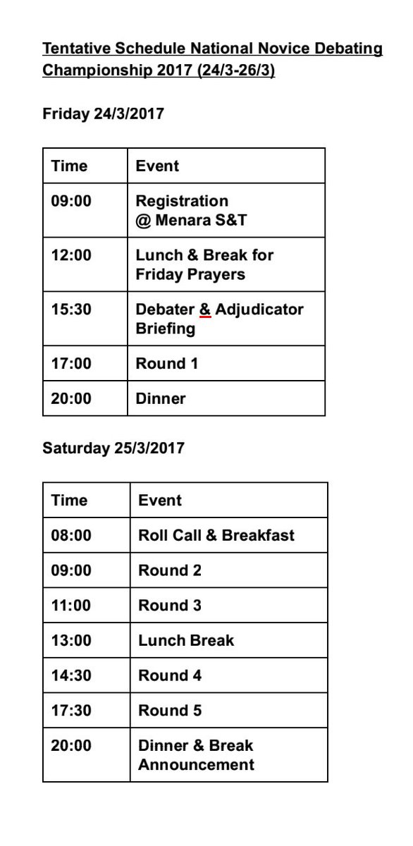 Hi all!  Here&#39;s the schedule of the National Novice Debating Championship 2017.  For any inquiries, feel free to DM.  #MARA #UiTM #Debate <br>http://pic.twitter.com/3vae4nHBWi