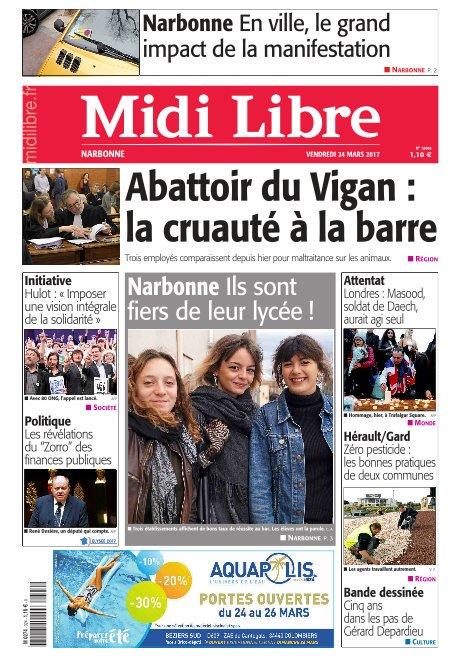 A la une de #MidiLibre #Narbonne ce vendredi  - Le grand impact de la manifestation des vignerons - Ils sont fiers de leur lycée !<br>http://pic.twitter.com/wUUwQjIIOA