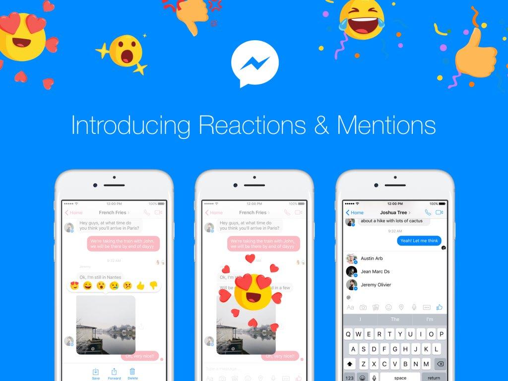 #Facebook annonce l&#39;arrivée des réactions et mentions dans #FacebookMessenger ! #socialmedia   http:// newsroom.fb.com/news/2017/03/i ntroducing-message-reactions-and-mentions-for-messenger/ &nbsp; … <br>http://pic.twitter.com/uG5RG5hRq8