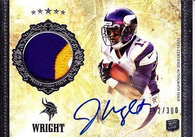 2012 #Topps Five Star Jarius Wright #Vikings Auto 3 Color #Jersey /300 Mint!  http:// dlvr.it/NjWxHG  &nbsp;   #Football<br>http://pic.twitter.com/A51ktvTLJm