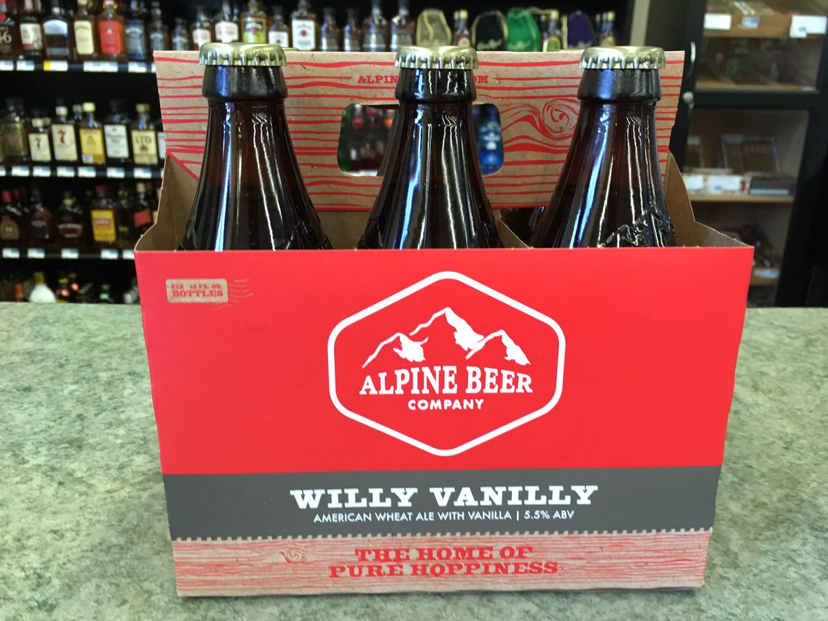 Just in from @AlpineBeerCo! Willy Vanilly American wheat ale with vani...