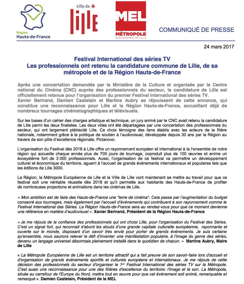 Le festival international des #séries TV aura lieu dans la Région @hautsdefrance ! Nos ambitions, ce n&#39;est pas que du #cinéma !<br>http://pic.twitter.com/SgjoR0UOPd
