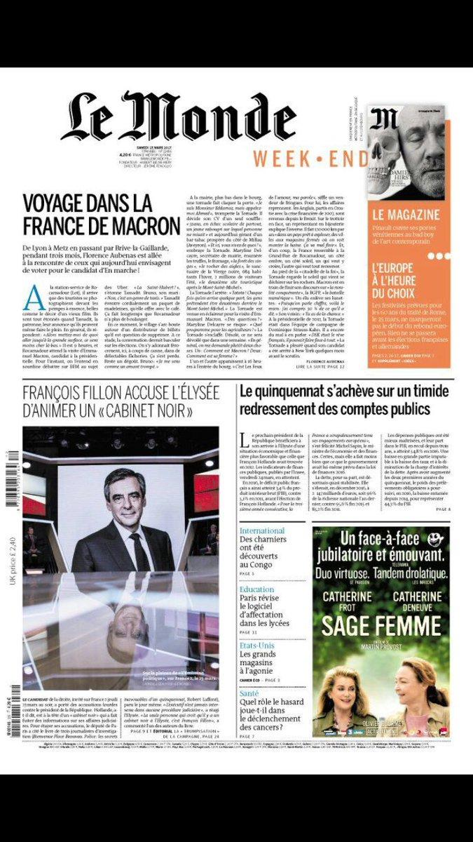J-30 La couv du Monde @lemondefr  #Presidentielle2017 #Pol #ComPol<br>http://pic.twitter.com/XGaGTsHj5D