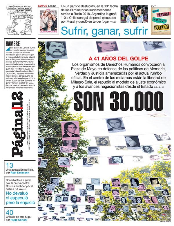 Tapa | SON 30.000 A 41 años del golpe, #NuncaMas   > https://t.co/P...
