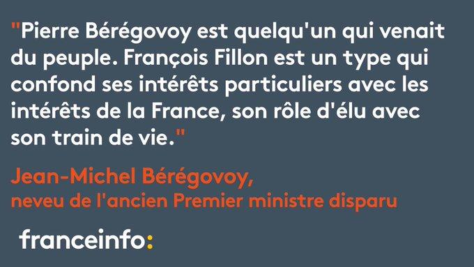 Après #LEmissionPolitique le neveu de Pierre Bérégovoy réclame des excuses à François #Fillon https://t.co/SHbixXhRVc