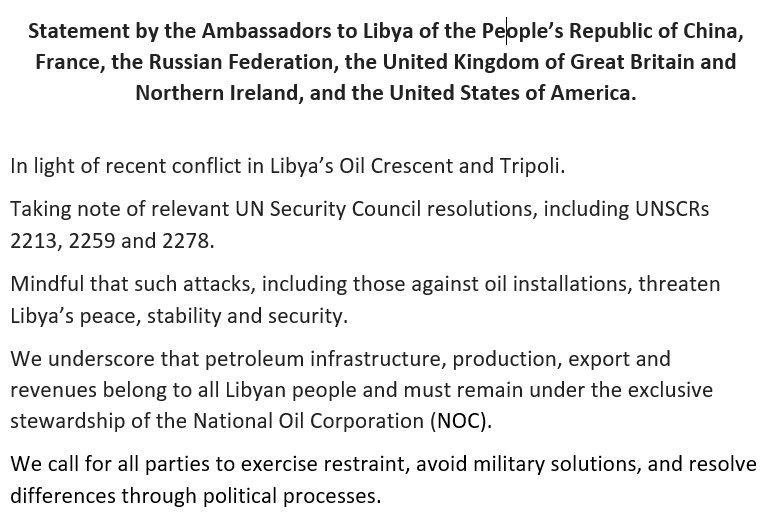 Joint statement on the recent events in #Libya's Oil Crescent by the Ambassadors of #China, #France, #Russia, #UK, #USA <br>http://pic.twitter.com/QrpsuUPTxe