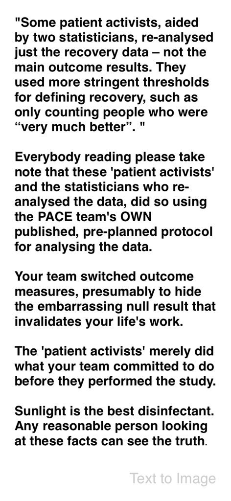 Pls Read very thoughtful reactions to piece from #PACE authors in @MaastrichtU mag. #pwme #Statistics #clinicaltrials #bioethics @TheLancet<br>http://pic.twitter.com/wWrhY1un8Z