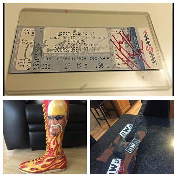 For those that hear @Richypp talk about his top 3 @HulkHogan items on our podcast last week, here they are in all their glory #Treasures <br>http://pic.twitter.com/v8axojRUpa