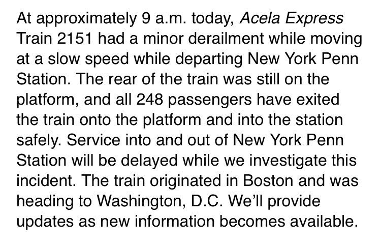 .@Amtrak statement in minor derailment at NY's Penn Station this morni...