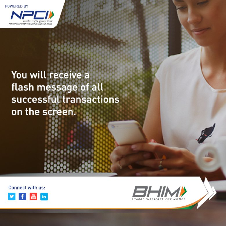 For every successful transaction, you will receive an instant confirmation on the app. #BHIMApp #FlashConfirmation<br>http://pic.twitter.com/ewKmGIiTOY